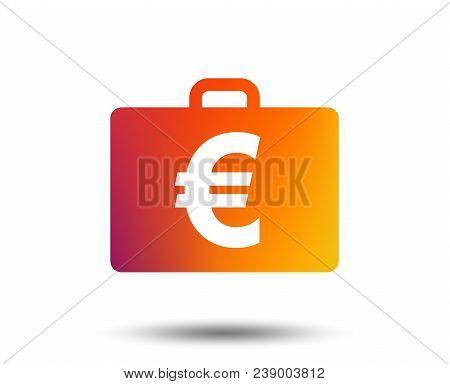 Case With Euro Eur Sign Icon. Briefcase Button. Blurred Gradient Design Element. Vivid Graphic Flat