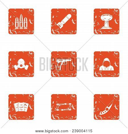 Threat Icons Set. Grunge Set Of 9 Threat Vector Icons For Web Isolated On White Background