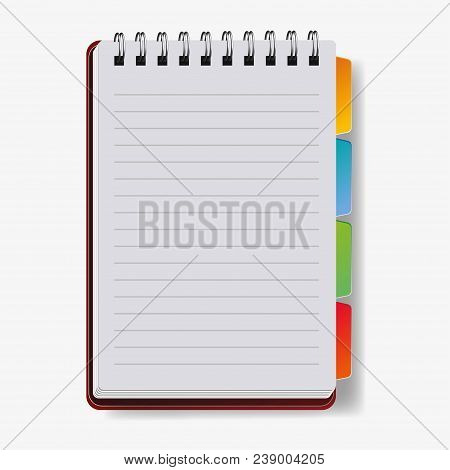 Realistic Notebook, Vector. A Notebook In A Ruler, A Notebook With A Shadow.