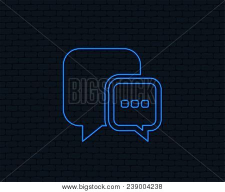 Neon Light. Chat Sign Icon. Speech Bubble With Three Dots Symbol. Communication Chat Bubble. Glowing
