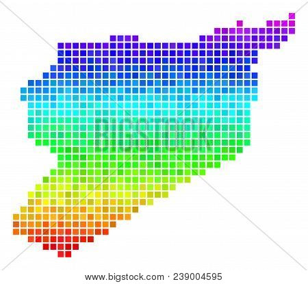Pixel Syria Map. Vector Territory Plan Drawn With Bright Rainbow Color Tints With Vertical Gradient.