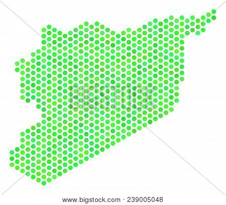 Green Syria Map. Vector Honeycomb Territorial Scheme Using Fresh Green Color Tones. Abstract Syria M