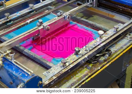 Serigraphy Printer ink machine pink magenta color in printing factory