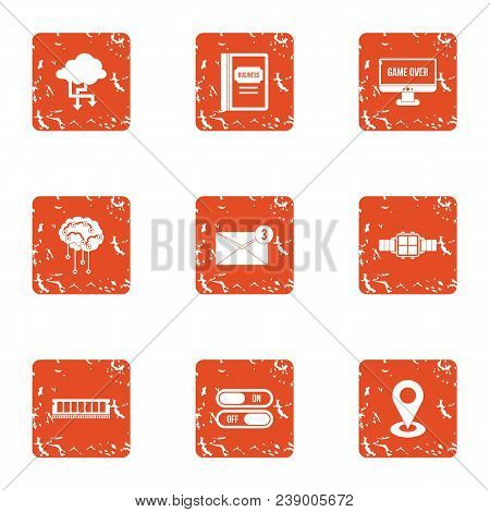 Technical School Icons Set. Grunge Set Of 9 Technical School Vector Icons For Web Isolated On White