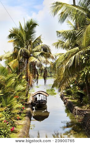Canal Scene Taxi Boat Kerala Backwaters India