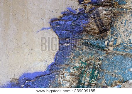Remnants Of Old Torn / Ripped Old Posters From Grunge Metal Surface.  Multicolor Abstract Textured B