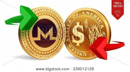 Monero To Dollar Currency Exchange. Monero. Dollar Coin. Cryptocurrency. Golden Coins With Monero An