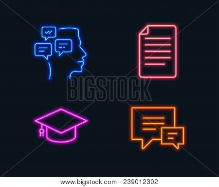 Neon Lights. Set Of File, Messages And Graduation Cap Icons. Comment Sign. Paper Page, Notifications