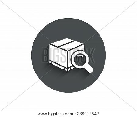 Search Package Simple Icon. Delivery Box Sign. Parcel Tracking Symbol. Circle Flat Button With Shado