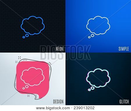 Glitch, Neon Effect. Comic Speech Bubble Line Icon. Chat Sign. Communication Or Comment Symbol. Tren
