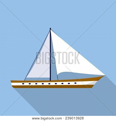 Sail Boat Icon. Flat Illustration Of Sail Boat Vector Icon For Web Design