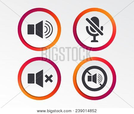 Player Control Icons. Sound, Microphone And Mute Speaker Signs. No Sound Symbol. Infographic Design