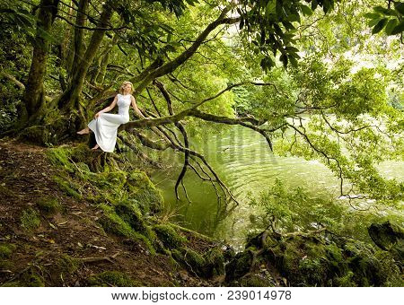 Beautiful Woman Sits In White Long Dress On Branch Of A Tree, Next To A Lake