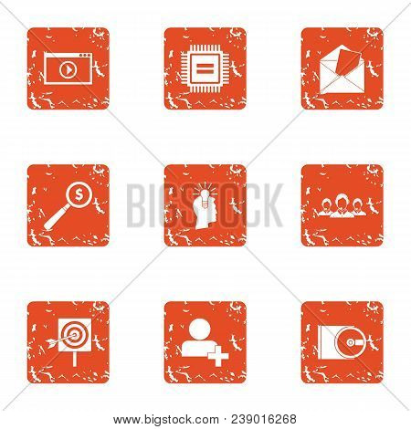 Business Representative Icons Set. Grunge Set Of 9 Business Representative Vector Icons For Web Isol