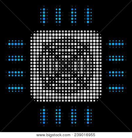 Asic Processor Halftone Vector Icon. Illustration Style Is Pixel Iconic Asic Processor Symbol On A B