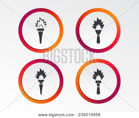 Torch Flame Icons. Fire Flaming Symbols. Hand Tool Which Provides Light Or Heat. Infographic Design