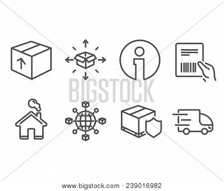 Set Of Parcel Delivery, Delivery Insurance And Package Icons. Logistics Network, Parcel Invoice Sign