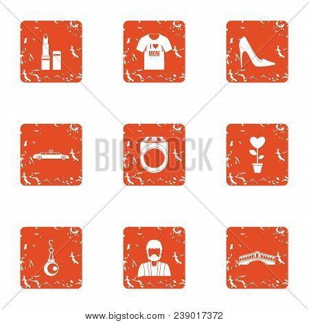 Fatal Lady Icons Set. Grunge Set Of 9 Fatal Lady Vector Icons For Web Isolated On White Background