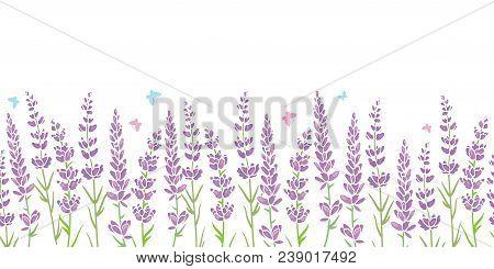 Lavender Flowers Frame Border Seamless Pattern. Beautiful Violet Lavender Flowers Retro Background A