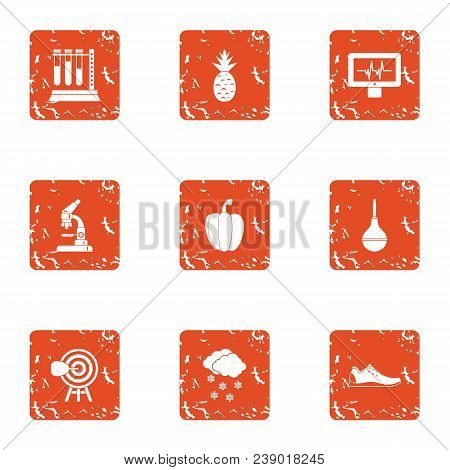 Lab Establishment Icons Set. Grunge Set Of 9 Lab Establishment Vector Icons For Web Isolated On Whit