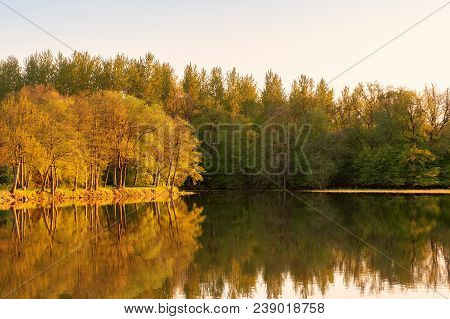French Landscape - Lorraine. Small Lake With Trees In The Background At Sunset.