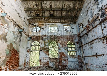 Disaster Concept, Inside Old Ruined Abandoned Industrial Factory Building, Large Creepy Hall Interio