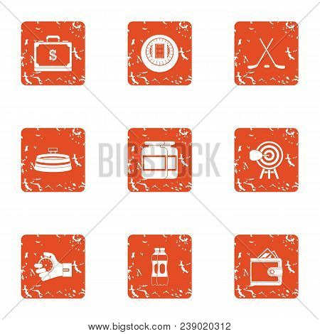 Propertied Icons Set. Grunge Set Of 9 Propertied Vector Icons For Web Isolated On White Background