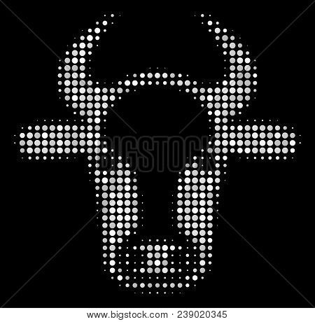 Cow Head Halftone Vector Icon. Illustration Style Is Dot Iconic Cow Head Symbol On A Black Backgroun