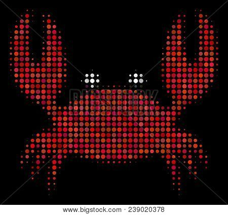 Crab Halftone Vector Icon. Illustration Style Is Dot Iconic Crab Symbol On A Black Background. Halft