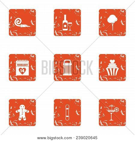 Find The Pairs Icons Set. Grunge Set Of 9 Find The Pairs Vector Icons For Web Isolated On White Back