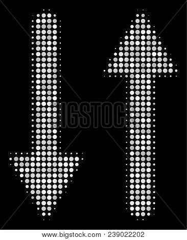 Exchange Arrows Halftone Vector Icon. Illustration Style Is Pixel Iconic Exchange Arrows Symbol On A
