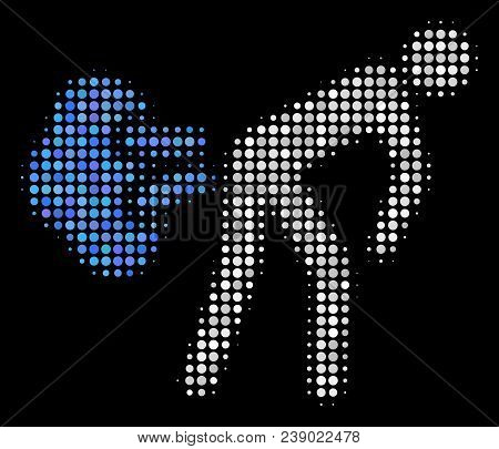Fart Gases Halftone Vector Icon. Illustration Style Is Pixel Iconic Fart Gases Symbol On A Black Bac