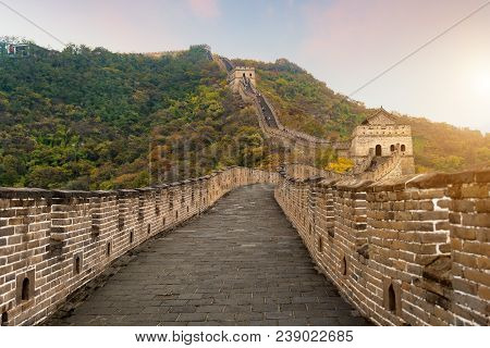 China The Great Wall Distant View Compressed Towers And Wall Segments Autumn Season In Mountains Nea