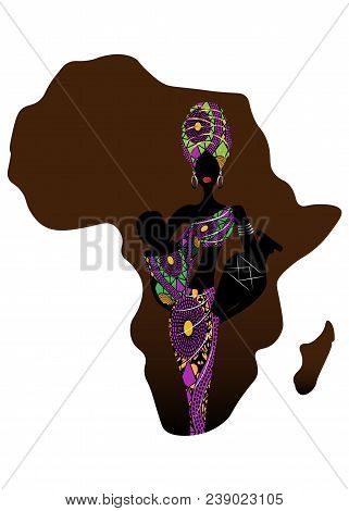 Africa Maternity Icon, Population Growth Rate. A Young Afro Mother Carrying Baby Being. Silhouette O