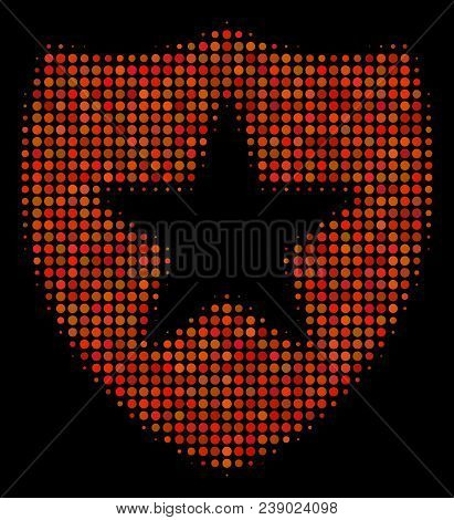 Guard Halftone Vector Icon. Illustration Style Is Pixelated Iconic Guard Symbol On A Black Backgroun