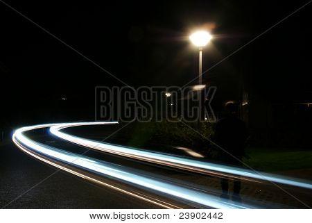 Blurred Lights On Street At Night