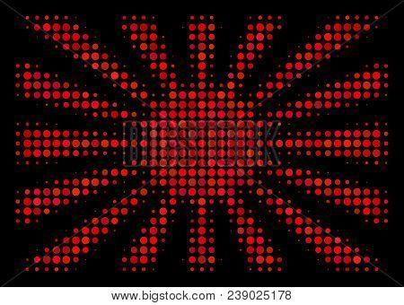 Japanese Rising Sun Halftone Vector Icon. Illustration Style Is Pixelated Iconic Japanese Rising Sun