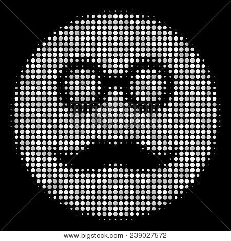 Pension Smiley Halftone Vector Icon. Illustration Style Is Dotted Iconic Pension Smiley Symbol On A