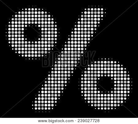 Percent Halftone Vector Icon. Illustration Style Is Dotted Iconic Percent Symbol On A Black Backgrou
