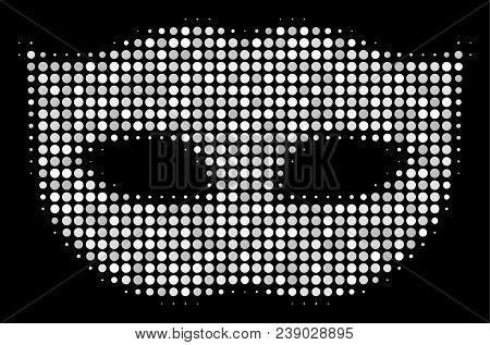 Privacy Mask Halftone Vector Icon. Illustration Style Is Pixelated Iconic Privacy Mask Symbol On A B