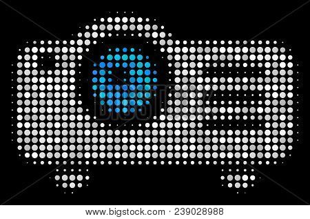 Projector Halftone Vector Icon. Illustration Style Is Dot Iconic Projector Symbol On A Black Backgro
