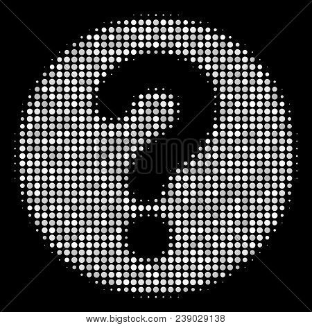 Query Halftone Vector Icon. Illustration Style Is Pixel Iconic Query Symbol On A Black Background. H