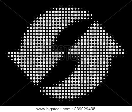 Refresh Halftone Vector Icon. Illustration Style Is Pixel Iconic Refresh Symbol On A Black Backgroun