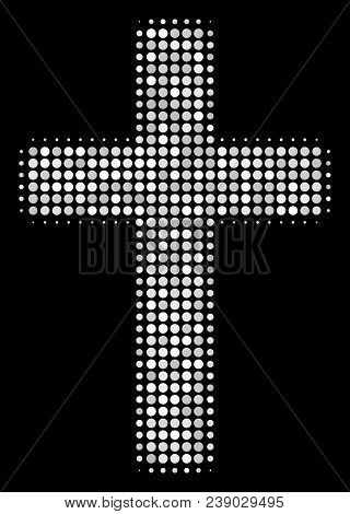 Religious Cross Halftone Vector Icon. Illustration Style Is Dot Iconic Religious Cross Symbol On A B