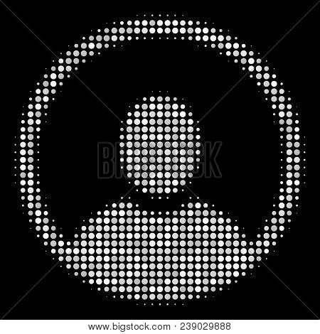 Rounded User Portrait Halftone Vector Icon. Illustration Style Is Dotted Iconic Rounded User Portrai