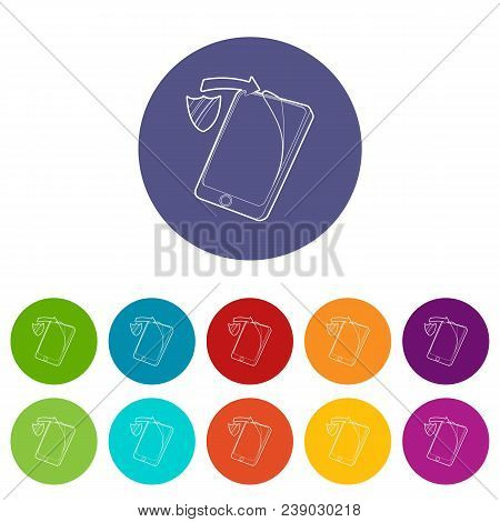 Gadget Wtih Tempered Glass Protection Icon. Outline Illustration Of Gadget With Tempered Glass Prote