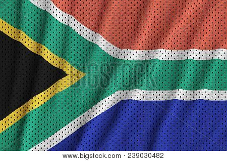 South Africa flag printed on a polyester nylon sportswear mesh fabric with some folds poster