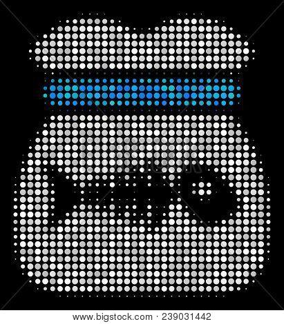 Toxic Rubbish Halftone Vector Icon. Illustration Style Is Pixel Iconic Toxic Rubbish Symbol On A Bla
