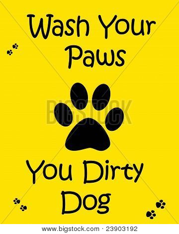 wash your hands poster black paw on yellow background illustration poster