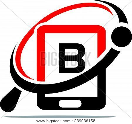 Hand Phone Search Initial B Logo Design Template Isolated